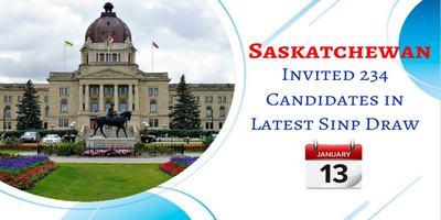 Saskatchewan Issued 234 Invitations in Latest SINP Draw on 13th Jan 2020