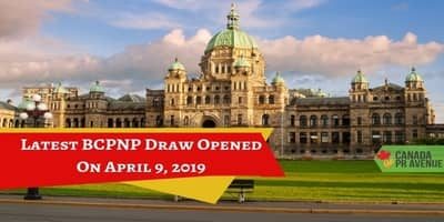 Latest BCPNP Draw Opened on April 9, 2019