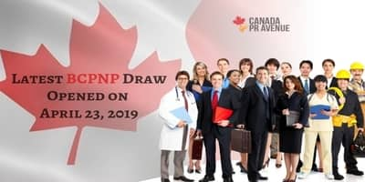 Latest BCPNP Draw Opened on   April 23, 2019
