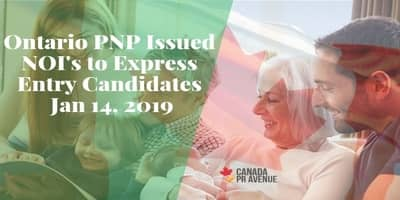 Ontario PNP Issued NOI to Express Entry Candidates 14 Jan, 2019